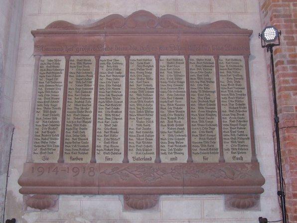 Gedenktafel für die Bergener Krieger des 1. Weltkrieg