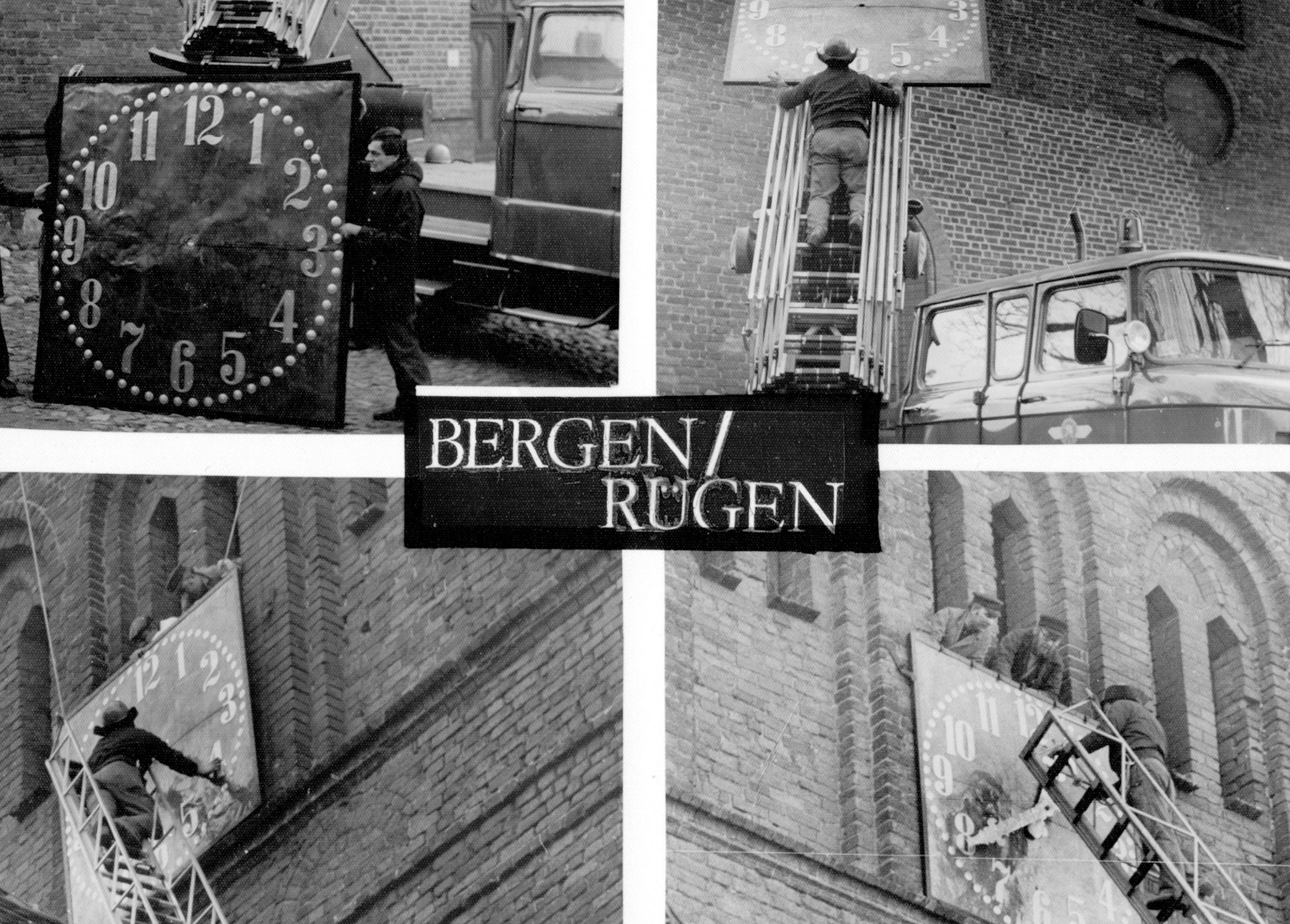 Vier Bilder vom anbauen des Zifferblatts.