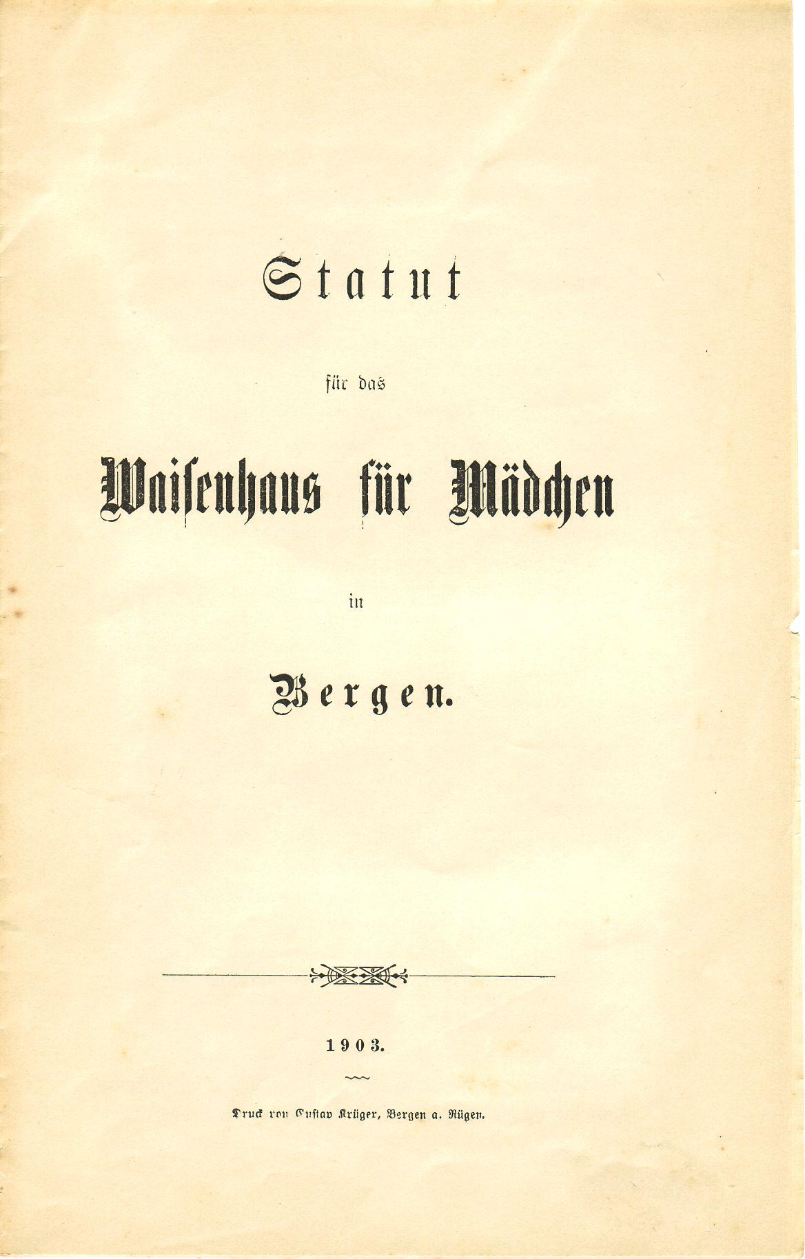 Statut Waisenhaus Titelblatt