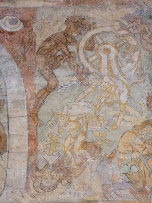 Detail Wandmalerei Hölle Marter des Geizigen