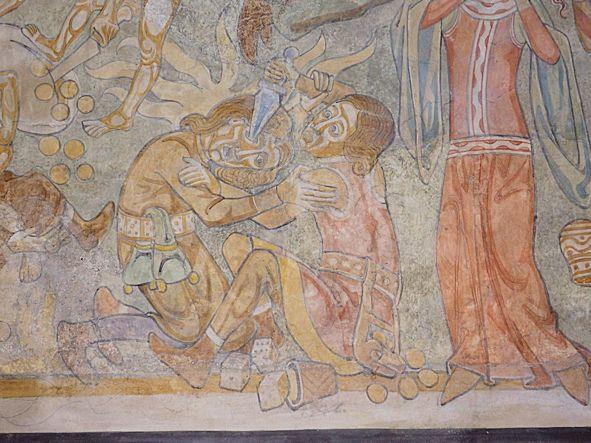 Detail Wandmalerei Streit beim Glücksspiel